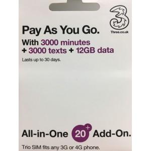THREE SIMCARD 12GB DATA + 3000 MIN EUROPE